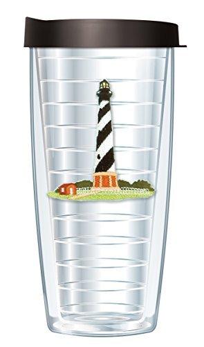 Lighthouse - Hatteras, NC Emblem Traveler 16 Oz Tumbler Cup with Black Lid - Nc Lighthouse