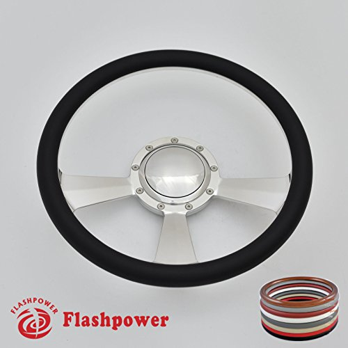Flashpower 14'' Billet Half Wrap Steering Wheel with 9 Bolts 2'' Dish and Horn Button(Black) - Half Wrap