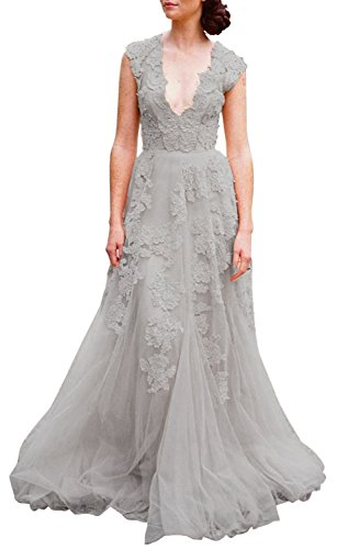 Vintage Fashion Womens Dresses Gowns - ASA Bridal Women's Vintage Cap Sleeve Lace Wedding Dress A Line Evening Gown Light Grey 6