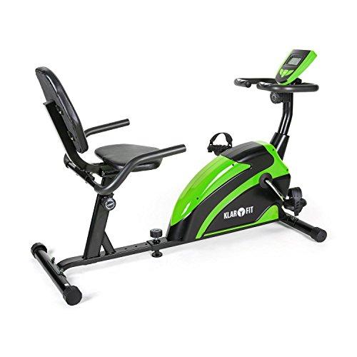 Klarfit Relaxbike 5G Liegefahrrad Heimtrainer Senioren Fahrradtrainer im sitzen (platzsparsames Liegerad, Handpulsmesser, Trainingscomputer, bis max. 100kg) grün-schwarz