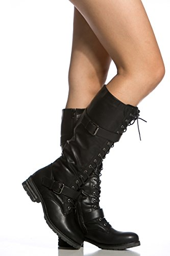 Faux Leather Fourever Heel Funky Knee Boots Vegan Women's Up Lace Buckled High Black qEwFnx4wS
