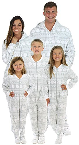 SleepytimePjs Family Matching Grey Snowflake Onesie PJS Footed ... c62e5a08d