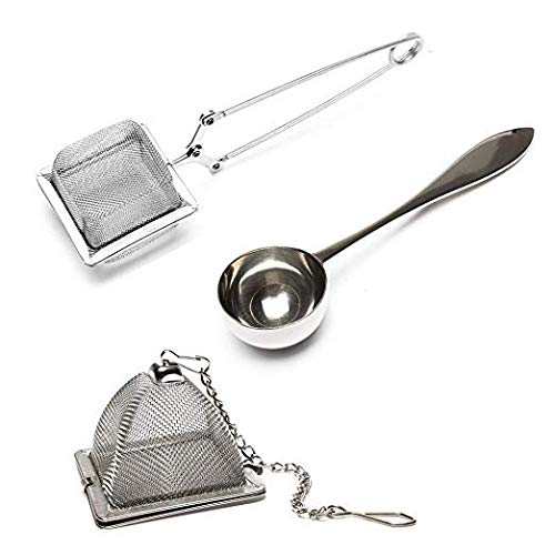 (VAHDAM, Set of 2 Infusers & 1 Tea Spoon - 100% Stainless Steel, Tea Filer, Tea Strainer, Square Tea Infuser, Triangle Tea Infuser & Perfect Serve Tea Spoon - Durable Tea Maker   )