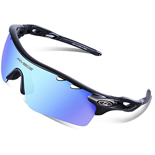 RIVBOS 801 Polarized Sports Sunglasses Sun Glasses with 5 Interchangeable Lenses for Men Women Baseball Cycling Runing (829-TR Black Ice Blue Lens)