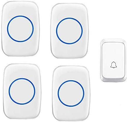 ワイヤレスドアベル、携帯用全天候型音楽ドアチャイムキット、メモリ機能、1プッシュボタンと4レシーバー、300mレンジ、LEDインジケーター、58着信音、4ボリュームレベル,白
