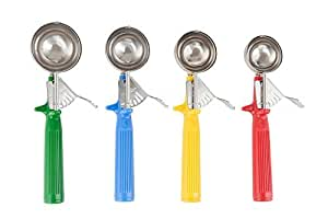Culinary Depot Stainless Steel Ice Cream Scoop Disher, 4-Piece Color Handle Set - 12, 16, 20, 24 Scoops