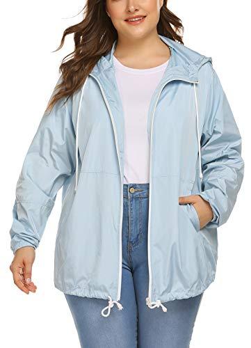 IN'VOLAND Women's Plus Size Raincoat Rain Jacket Lightweight Outdoor Windbreaker Waterproof Coat Jacket with Hood Clear Blue