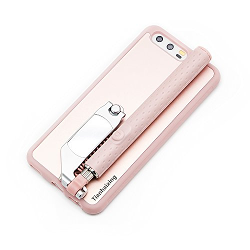 Tianhaixing HUAWEI P10 Case with Selfie Sticks Wire Remote Control Extendable Selfie Sticks Case for 5.1'' inch HUAEI P10 (HUAWEI P10, Rose Gold) by Chinatmax