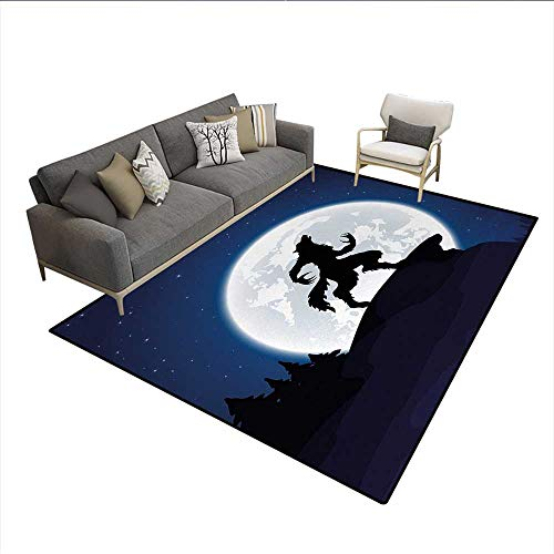 Floor Mat,Full Moon Night Sky Growling Werewolf Mythical Creature in Woods Halloween,3D Printing Area Rug,Dark Blue Black WhiteSize:5'x6']()
