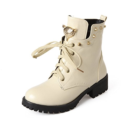 Fashion Heel Womens Low Heel Round Toe Lace up Handmade Studded Ankle Boot Beige DJmarze9