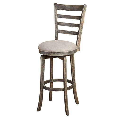The Mezzanine Shoppe 81030GRY Ashton Wooden Ladderback Kitchen Swivel Stool, 30