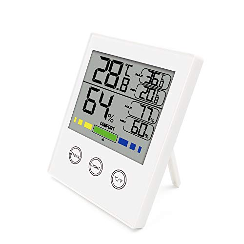 DATTON 910 White Digital Hygrometer Indoor Temperature Humidity Gauge Thermometer Hygrometer Monitor with Touchscreen and Backlight