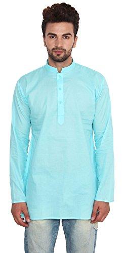 Cotton Dress Mens Short Kurta Shirt India Fashion Clothes (Turquoise, S)