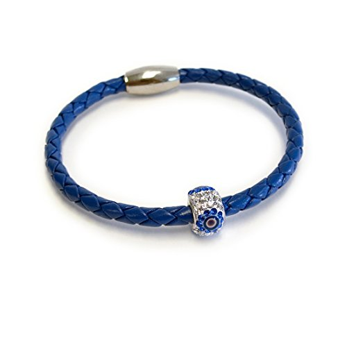Liza Schwartz Jewelry Evil Eye Premium Leather Bracelet (Cobalt)