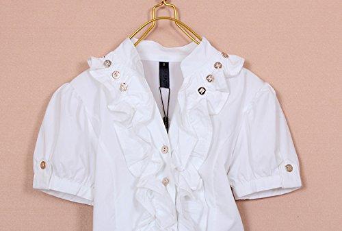 Zamme La Del Blusa Delgado Ol Mono Botones Clásicas A Blanco Remata Camisas Mujeres Con De Las 8r8Rq