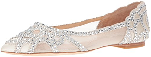 Badgley Mischka Women's Gigi Pointed Toe Flat, Ivory, 7 M US