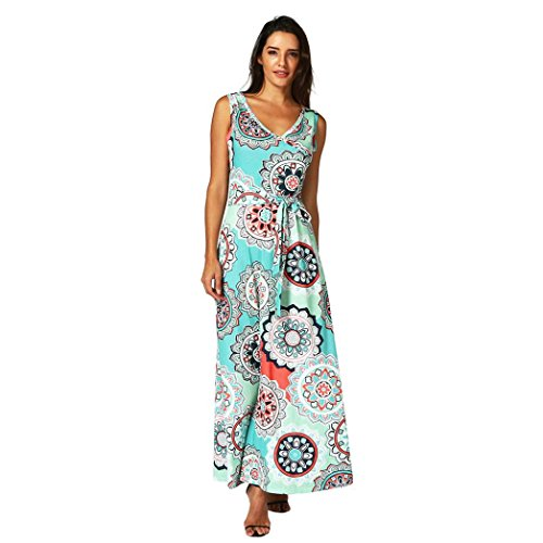 2018 Hot Sale! Womens Bohemian Printed Wrap Bodice Sleeveless Crossover Maxi Dress (Green, M)