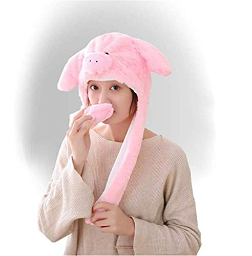 Cute Fur Pig Animal Hat Winter Scarf Furry
