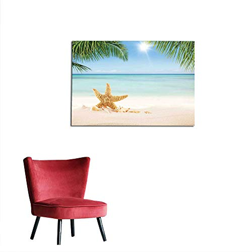 kungfu Decoration Photo Wall Paper Ocean,Graphic of Summer Sandy Beach with Majestic Starfish on Tropical Hawaiian Beach,Cream Blue Green Space Poster W35.4 x L23.6 ()