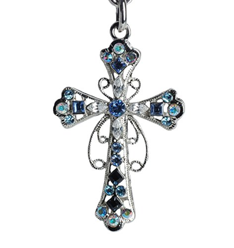 Lilly Rocket Blue and Clear Rhinestone Holy Cross Bling Key Chain with Swarovski Crystals -