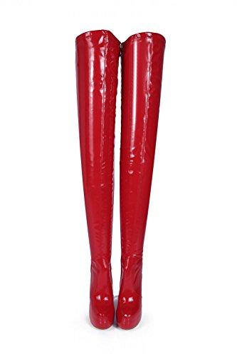 GIARO - Damen Plateau Overknee Stiefel - Lack Rot Schuhe in Übergrößen