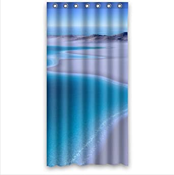 Amazon.com: Pure Blue Sea and Tropical Beach Shore Waterproof Bathroom Shower Curtain- Polyester Fabric, 36(w)x72(h): Clothing