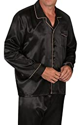 Del Rossa Men\'s Satin Pajamas, Long Button-Down Pj Set, Large Black with Gold Piping (A0752BLKLG)