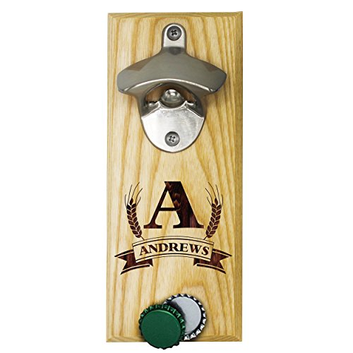 Personalized Wall Mount Bottle Opener Magnet Cap Catcher – Custom Engraved Groomsmen Wall Mounted Magnetic Gift (Maple, Barley)