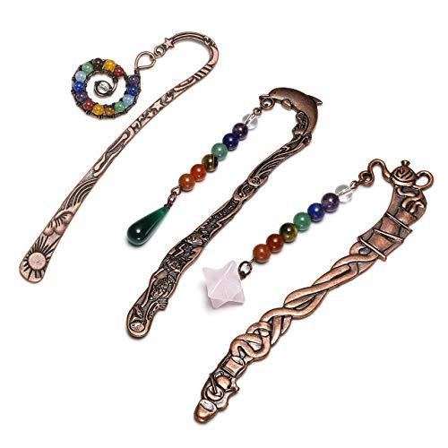 (JOVIVI 3pcs Anqitue Copper Metal Bookmark Beading Bookmarks with Handmade 7 Chakra Healing Crystals Teardrop Bead & Merkaba & Swirl Bead)