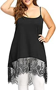 Inkach Sexy Women Summer Sleeveless T-Shirt Plus Size Lace Rim Blouses Tops Camisole Long Vest