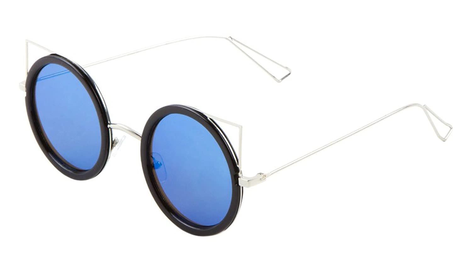 Sunglasses Luxe. Metal Round Cat Eye Sunglasses. (BLACK BLUE)