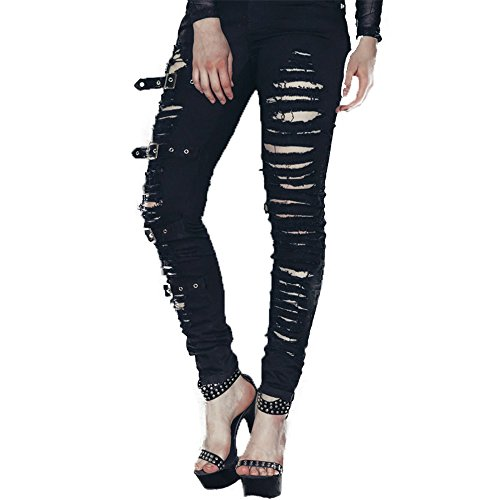 Devil Fashion Punk Women Black Torn Hole Stretchy Legging Pants with Buckles (Ripped Leggings Halloween)