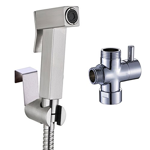 50%OFF Ownace Handheld Bidet Set Shattaf Cloth Diaper Stainless Steel Sprayer Combo Set for Toilet with Brass T-adapter and Hose