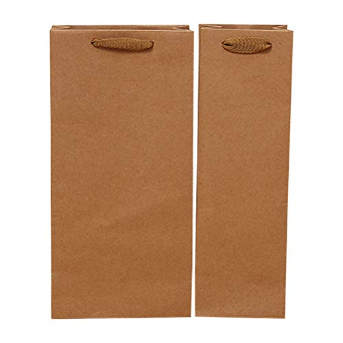 Vosarea 12pcs Kraft Paper Wine Bags Handles Gifts Retail Merchandise (Double-Vessle -