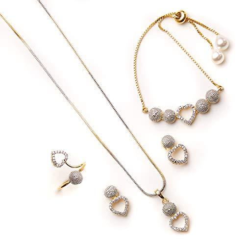 Zeneme Gold Plated Cubic Zirconia Pendant Set Ring Bracelet with Earring Jewellery for Girls & Women