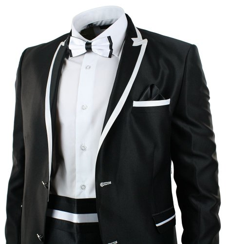 bismark Mens Shiny Dinner Tuxedo Suit Slim Fit Wedding Party 5
