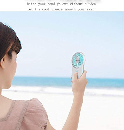 GSJQW Mini Fan Low Noise Ultra-Thin and Easy to Carry Handheld USB Charging Three-Speed Wind Speed Long Battery Life,Blue