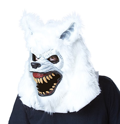 Lycan Costumes (California Costumes Men's White Lycan Ani-Motion Mask Werewolf Vampire Horror, White, One Size)
