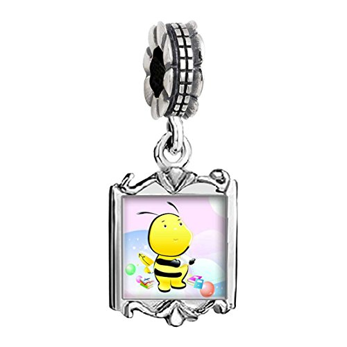 Charms Baby Bee (The Read Book Honeybee Photo Family Mom & Baby Girl & Dad Dangle Bead Charm Bracelet)