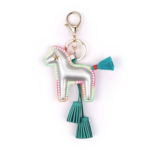 Horse Key Ring Chain, Nikang Handmade Leather Key Holder Metal Chain Charm With Tassels, Tassel Key Chain, Handbag Accessories, Purse Pendant, Fashion Item, Car Key Chain, Idea for Woman, Silver