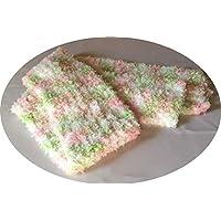 Handknitted Child Scarf in fluffy very soft yarn PINK/GREEN/WHITE