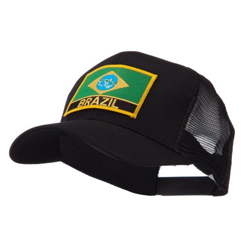North and South America Flag Letter Patched Mesh Cap - Brazil (Brazil Flag Cap)