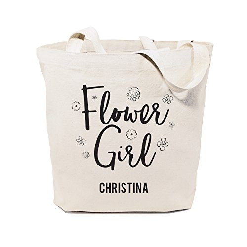 The Cotton & Canvas Co. Flower Girl Personalized Wedding, Beach, Shopping and Travel Resusable Shoulder Tote and (Flower Girl Canvas Tote Bag)