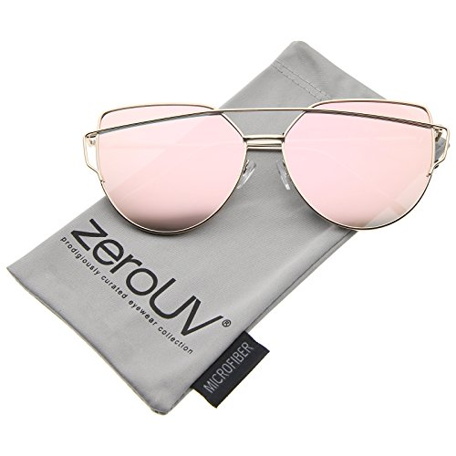 [zeroUV - Oversize Metal Frame Thin Temple Color Mirror Flat Lens Aviator Sunglasses 62mm (Gold / Pink Mirror)] (Thin Frame Sunglasses)