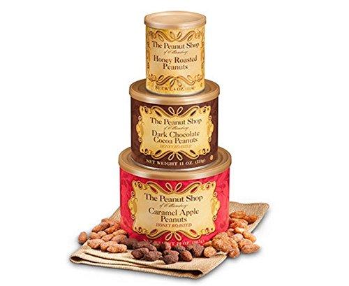 The Peanut Shop of Williamsburg Honey Roasted Gift Tower - Honey Roasted Peanuts, Dark Chocolate Cocoa Peanuts, & Caramel Apple - Tower Shops