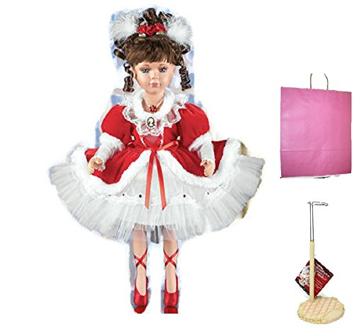 Nancy The Ballerina Porcelain Doll with Doll Stand and Gift Bag ( 3 Items-Bundle)