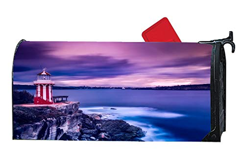 Bay Harbor Sea Ocean Waves Magnetic Mailbox Cover, All-Weather Vinyl Mailbox Wrap Home Decorative Standard Size 6.5 x 19 Inches