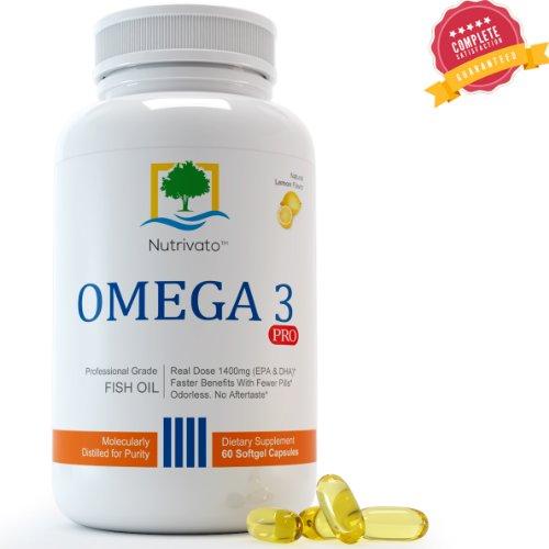 Omega 3 huile de poisson - Force Triple EPA DHA Capsules de qualité pharmaceutique, inodore et Burpless Pills (USA Made) 60 Comte - 100% Satisfait ou remboursé!