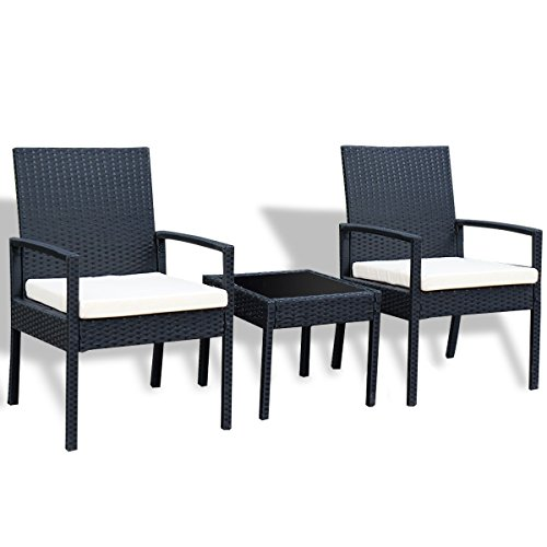 CHOOSEandBUY 3 pcs Outdoor Rattan Patio Furniture Set Coffee Table Chair Garden Yard Poolside ()