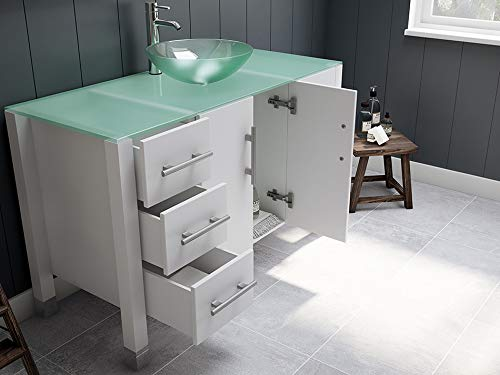 48 White Solid Wood Tempered Glass Single Vessel Sink Bathroom Vanity Set w Chrome Faucet- Ripley